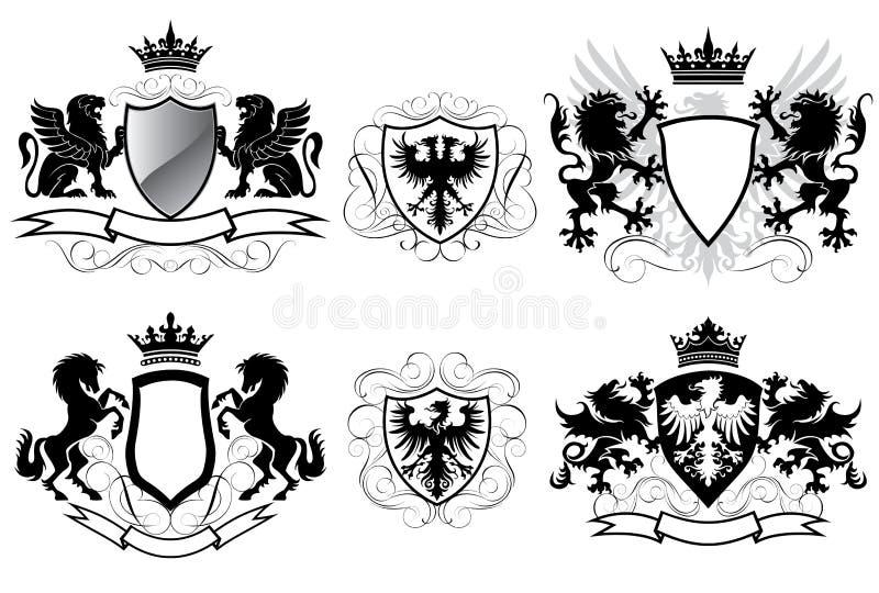 Heraldikvapensköld stock illustrationer