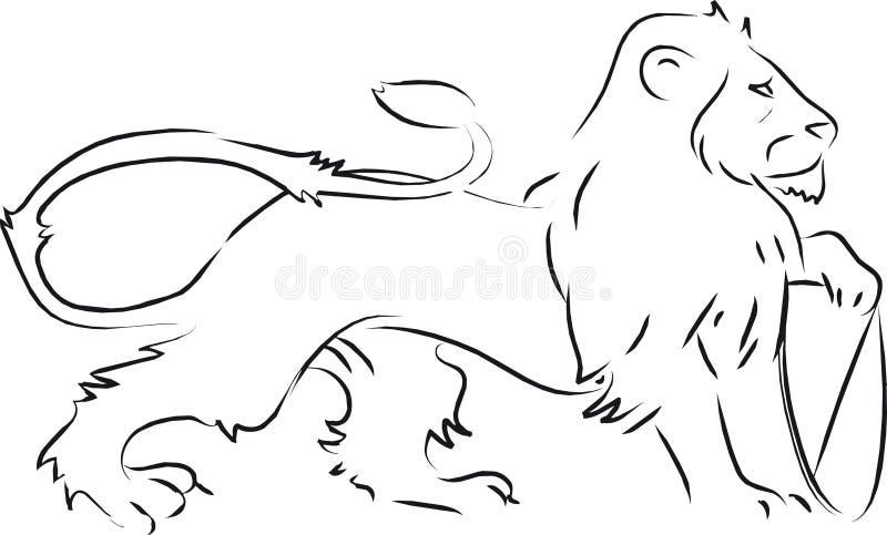 Heraldisch de holdingsschild van de leeuw stock illustratie