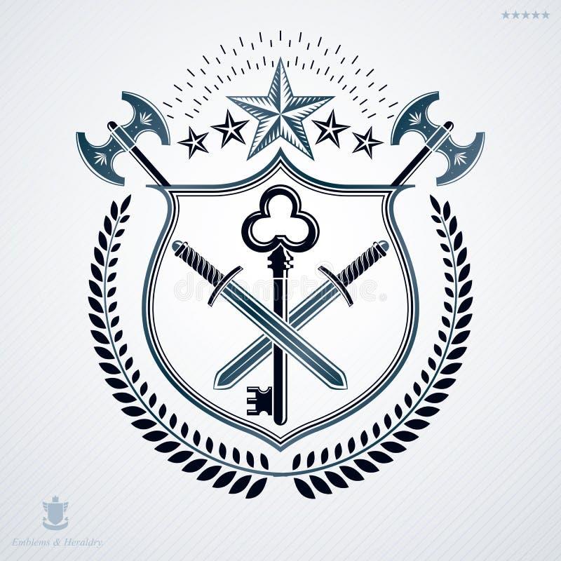 Heraldisch die Wapenschild met elementen, vectordieillustratie wordt gemaakt in uitstekend ontwerp wordt gecreeerd stock illustratie