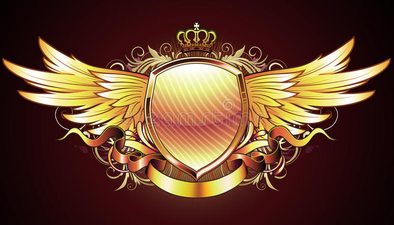 Heraldisch gouden schild stock illustratie
