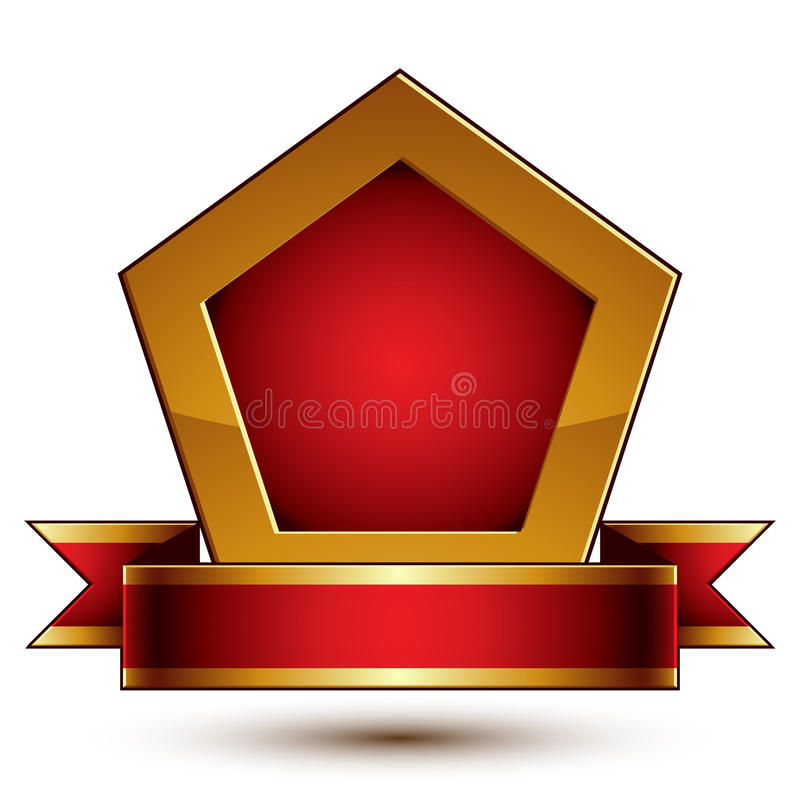 Heraldisch malplaatje met gouden overzicht, 3d koninklijke conceptua vector illustratie