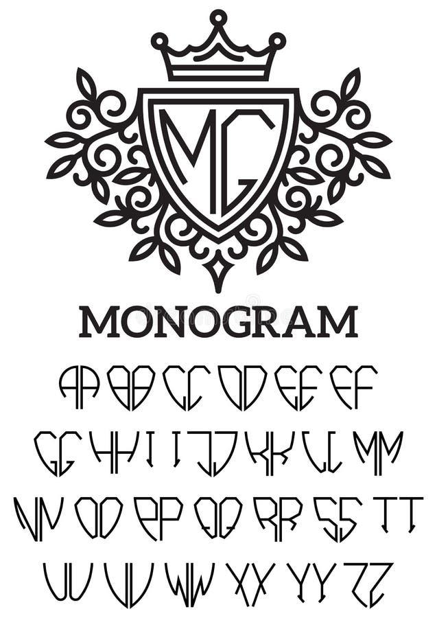 Heraldisch malplaatjemonogram met het tweezijdige alfabet vector illustratie