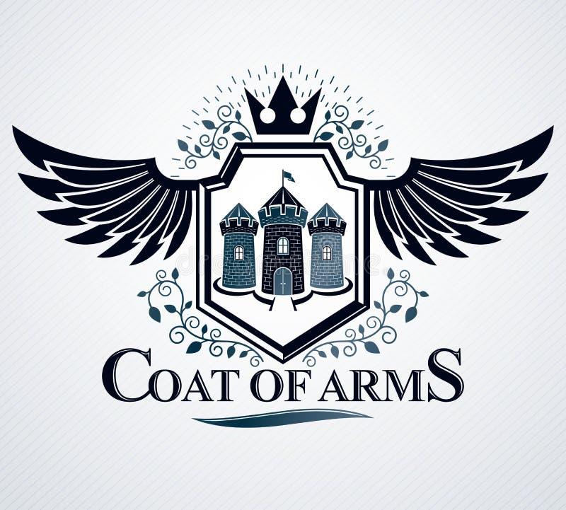 Heraldisch ontwerp, vector uitstekend embleem royalty-vrije illustratie