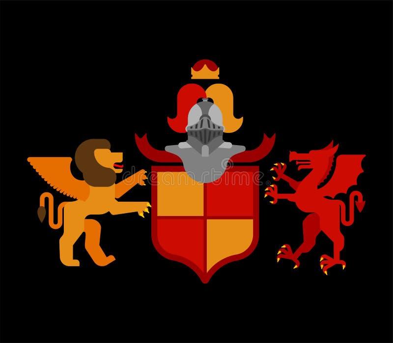 Heraldisch Schild Gevleugelde Leeuw en Draak en Ridder Helmet Fantas stock illustratie