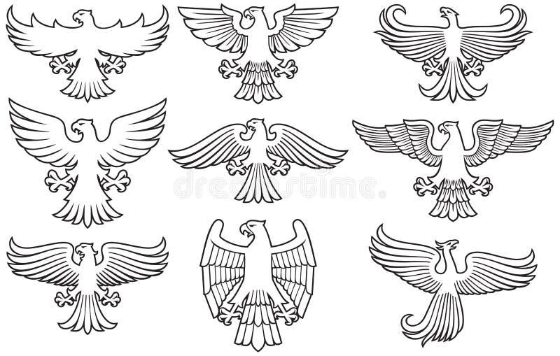 Heraldische Adler thine Linie Ikonen stock abbildung