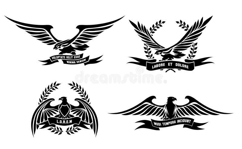 Heraldische Aufkleber Eagles mit Lorbeer windt, Schilder vektor abbildung