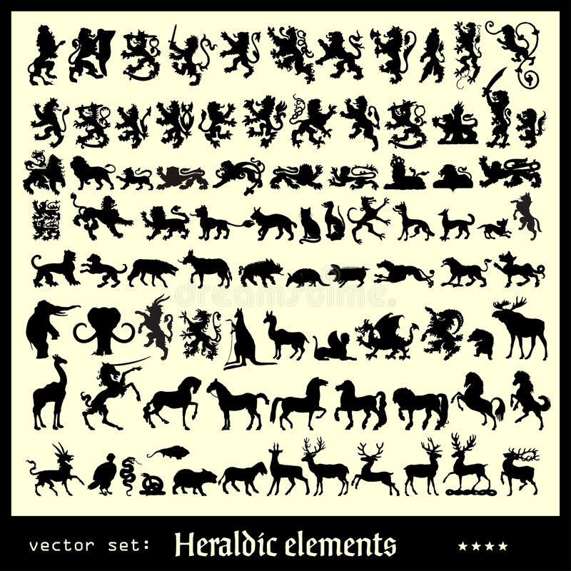 Heraldische diverse elementen royalty-vrije illustratie