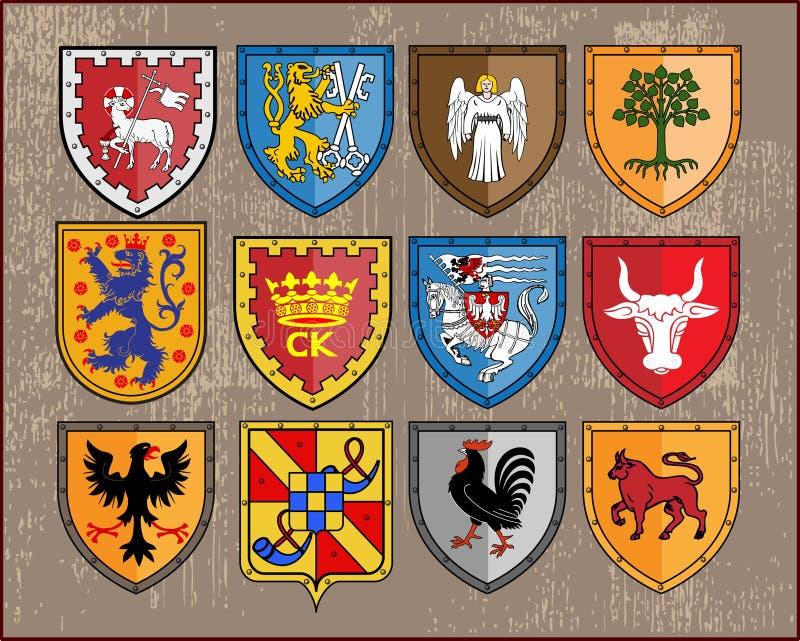 Heraldische elementen - schilden 2 royalty-vrije illustratie