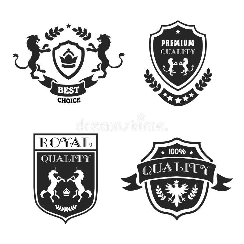 Heraldische elementen zwarte emblemen geplaatst premiekwaliteit Vector illustratie royalty-vrije illustratie