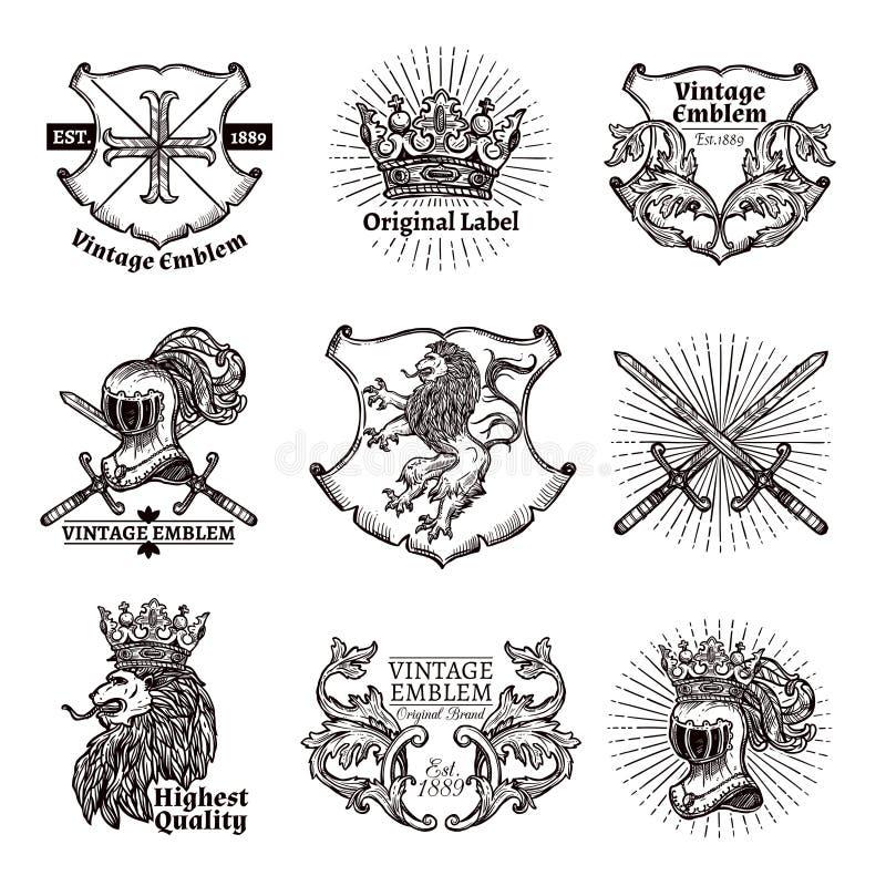 Heraldische Embleme eingestellt vektor abbildung