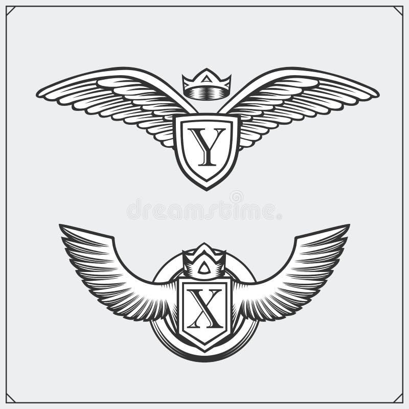 Heraldische Flügel eingestellt Vier Schneeflocken auf weißem Hintergrund Auch im corel abgehobenen Betrag stock abbildung