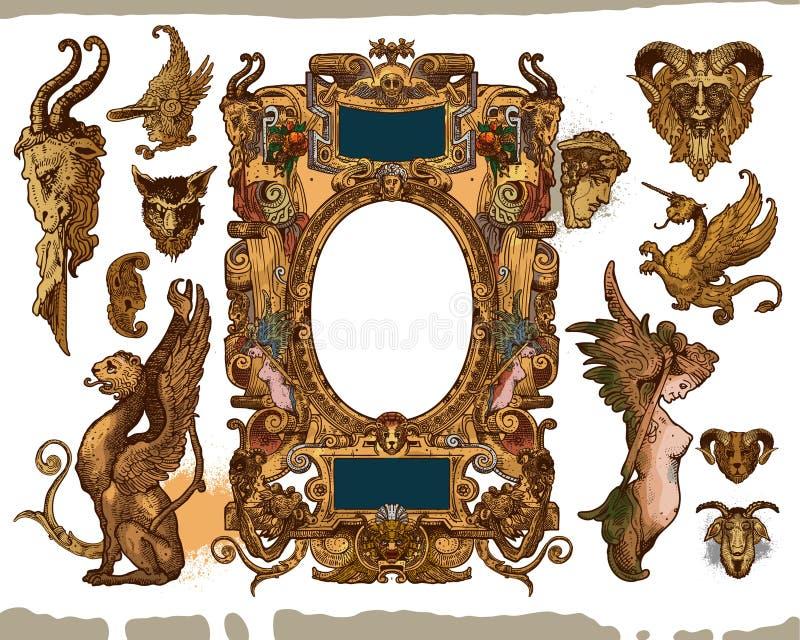 Heraldische frame ontwerpelementen stock illustratie