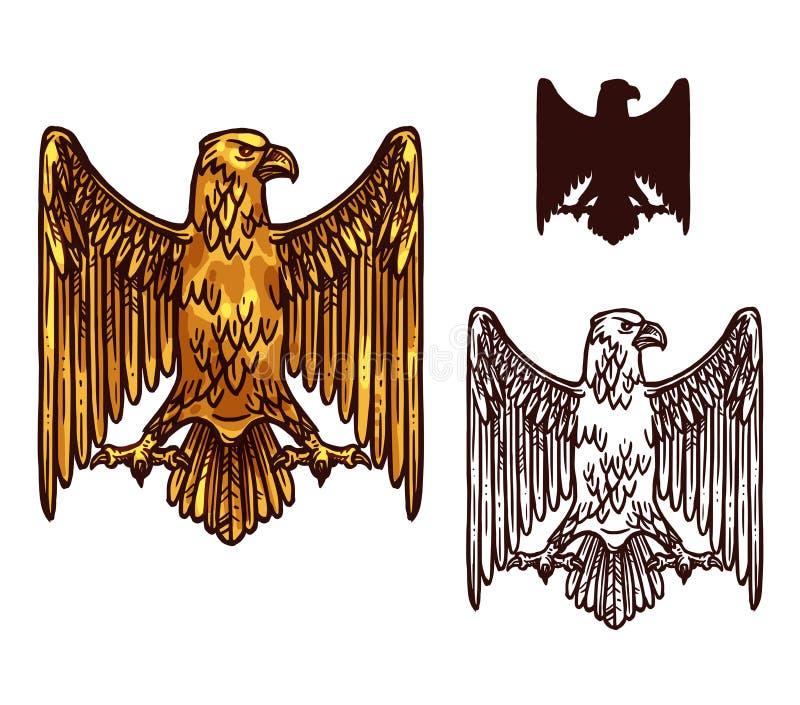 Heraldische gouden gotische adelaar, vector stock illustratie
