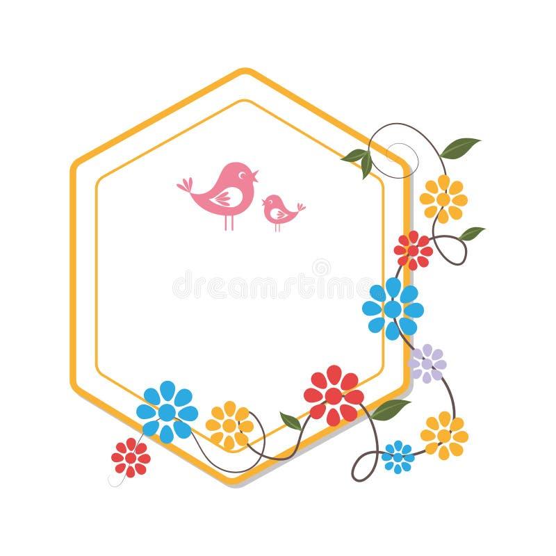 Heraldische Grenze mit Kriechpflanzenblüte und netten Vögeln lizenzfreie abbildung