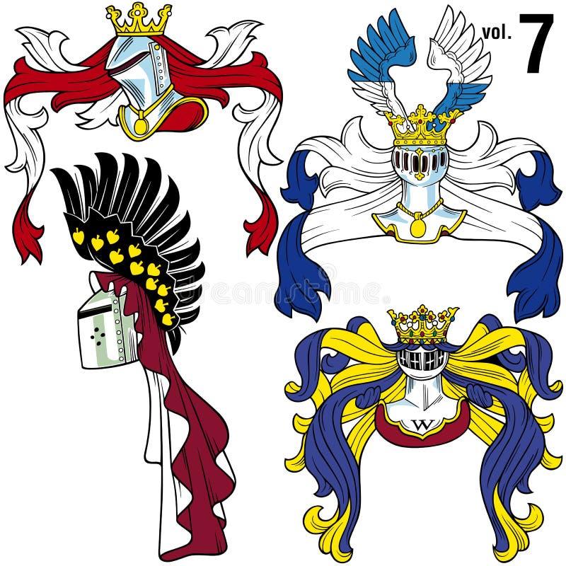 Heraldische Helmen vol.7 stock illustratie