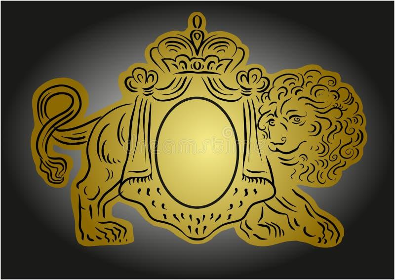 Heraldische Illustration des Vektors mit Krone und Löwe stock abbildung