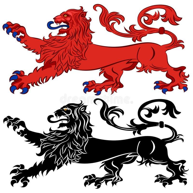 Heraldische Leeuw in Passant-Houding stock foto