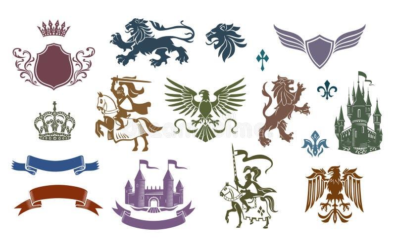 Heraldische Middeleeuwse Geplaatste Emblemen vector illustratie