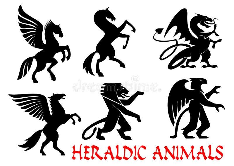Heraldische mythische Tierschattenbildembleme stock abbildung