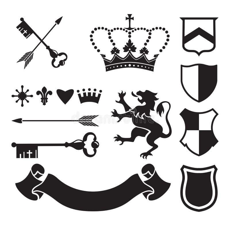 Heraldische silhouetten voor tekens en symbolen stock illustratie