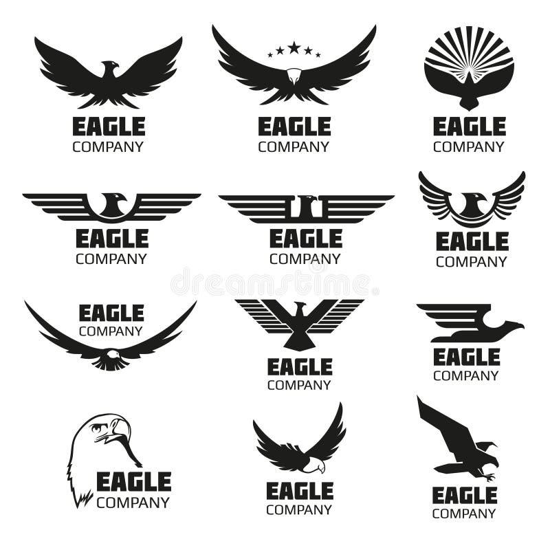 Heraldische Symbole mit Adlerschattenbildern Vektorembleme und -logos eingestellt stock abbildung