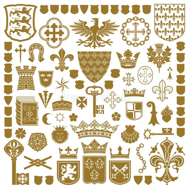 HERALDISCHE Symbolen en decoratie stock illustratie