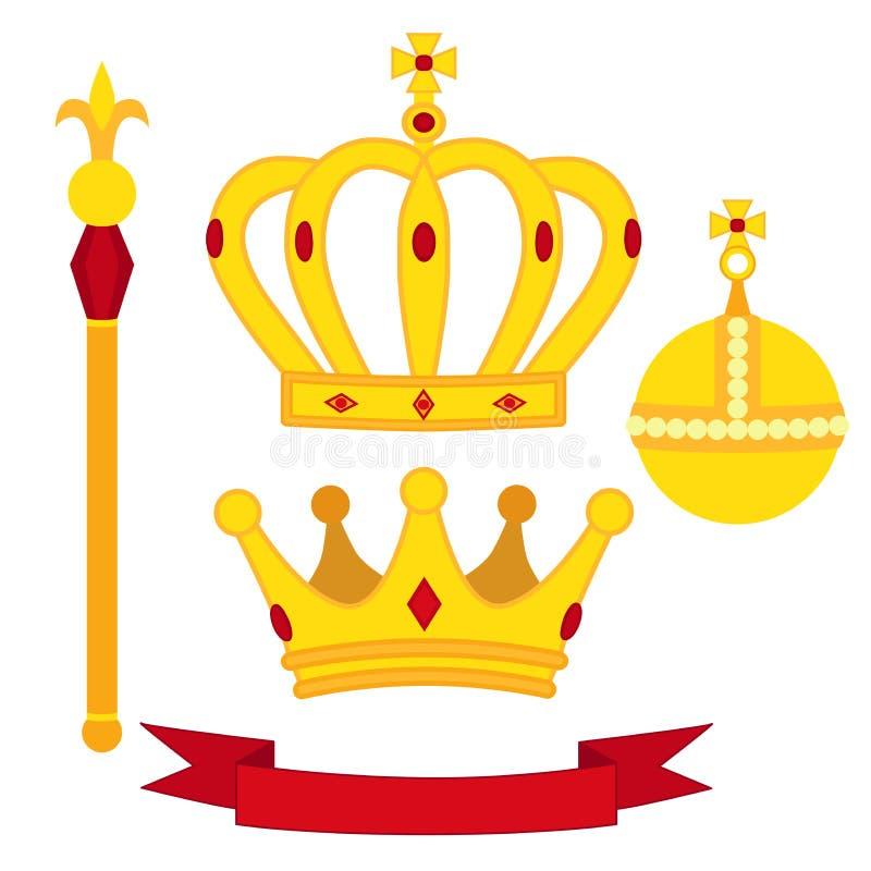 Heraldische symbolen, monarchreeks Koninklijke traditiescombinatie in vlakke stijl vector illustratie