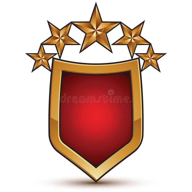 Heraldische Vektorschablone mit fünf glatten goldenen Sternen lizenzfreie abbildung