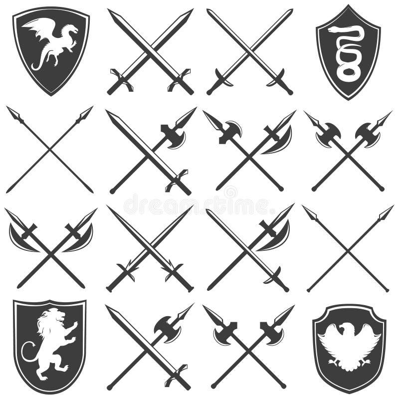 Heraldische Waffenkammer-grafische Ikonen eingestellt lizenzfreie abbildung