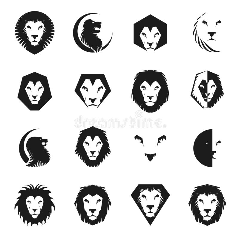 Heraldischer Elementsatz Lion Facess Heraldisches Wappen dekorative Logos lokalisierte Vektorillustrationen stock abbildung