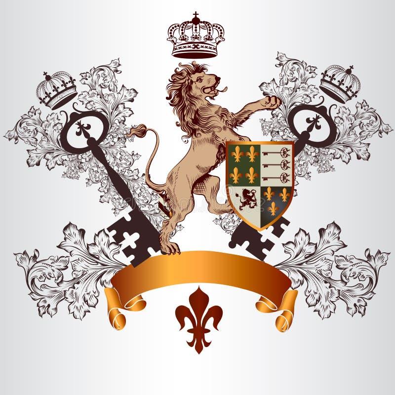 Heraldischer Entwurf mit Wappen, Löwe und Schild in Weinlesest. vektor abbildung