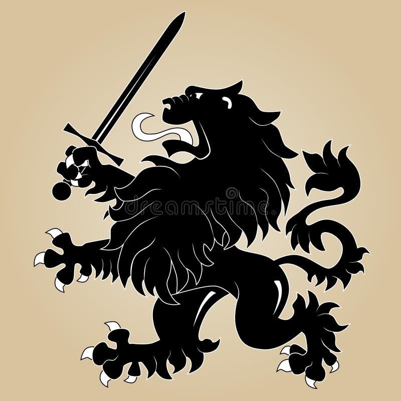 Heraldischer Löwe mit Klinge lizenzfreie abbildung