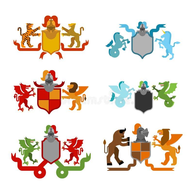 Heraldischer Schild-und Ritter-Helmet-Satz Fantastische Tiere Templat stock abbildung