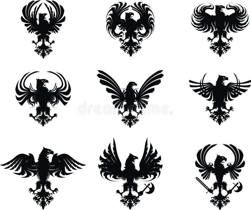 Heraldisches Adlerwappen Set vektor abbildung