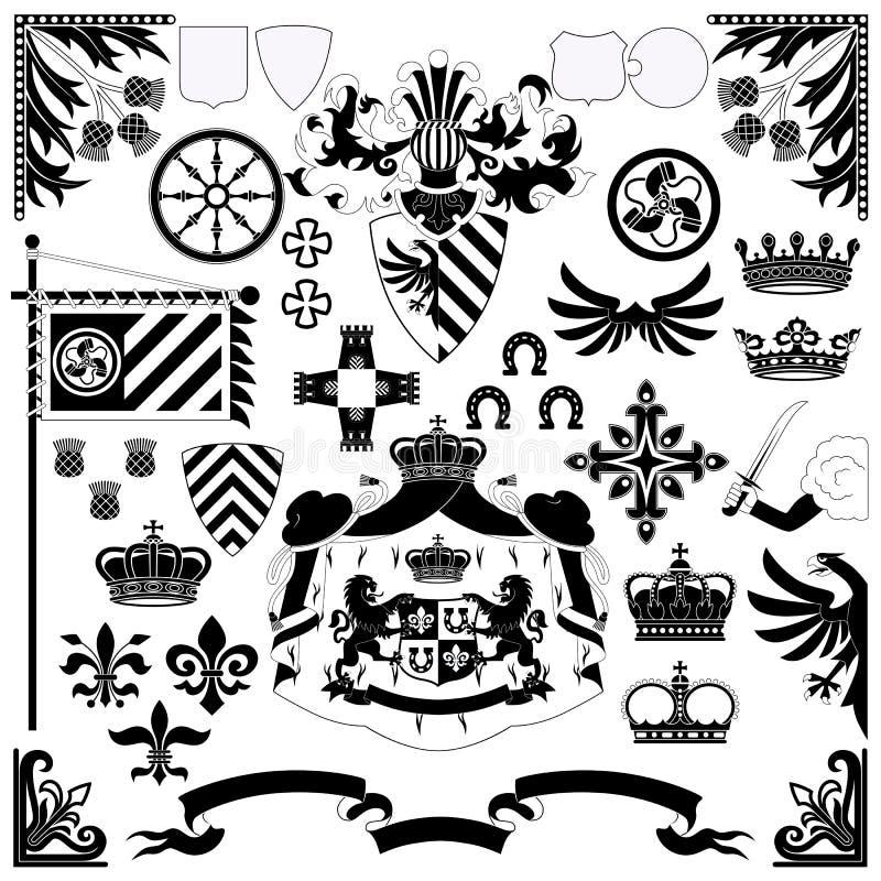 Heraldisches Set lizenzfreie abbildung