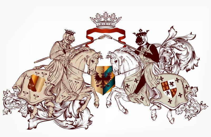 Heraldisk design med två riddare på hästar stock illustrationer