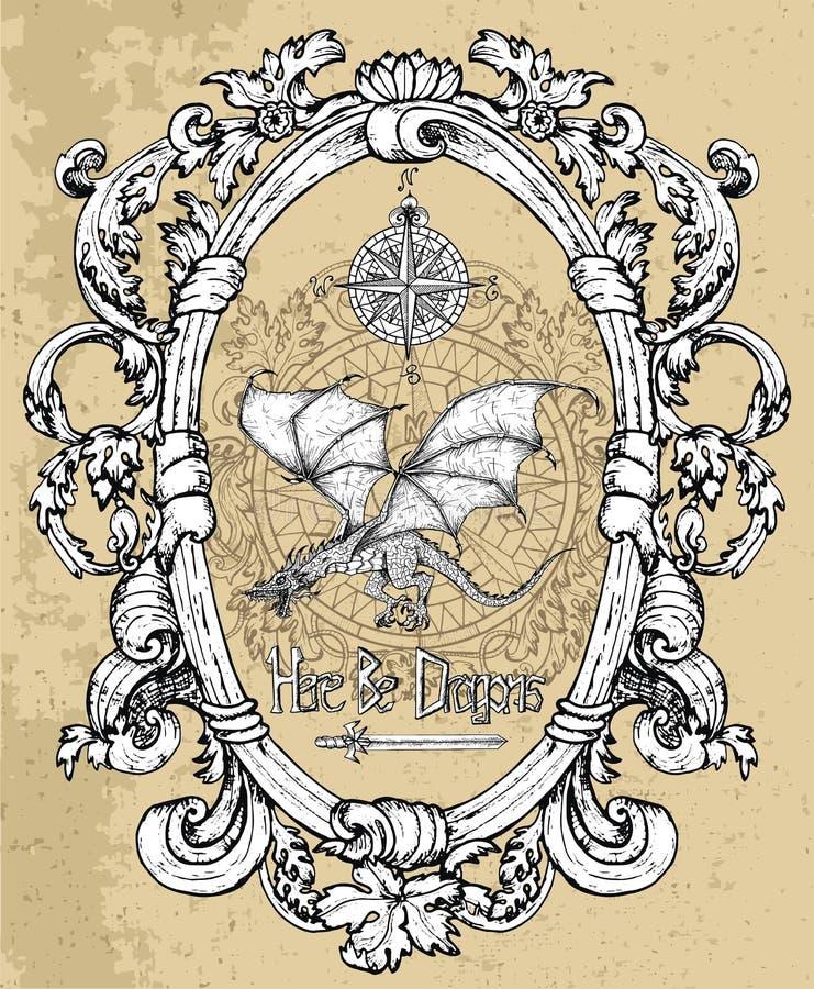 Heraldisk drake, kompass och forntida svärd i victorian ram royaltyfri illustrationer