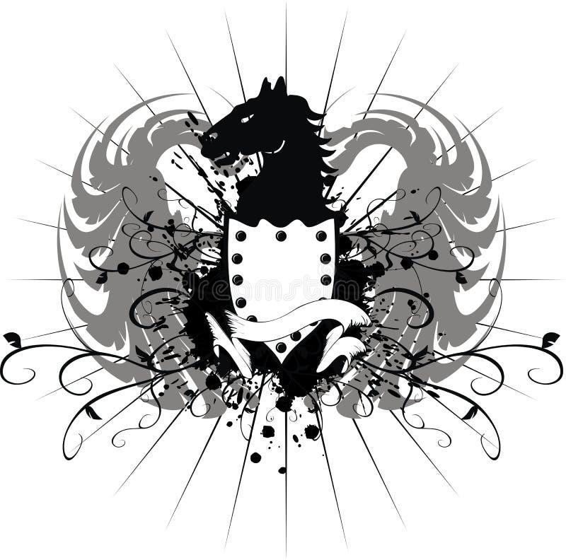 Heraldisk hästvapensköld 3 royaltyfri illustrationer