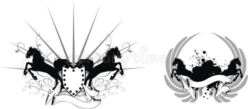 Heraldisk hästvapensköld set1 royaltyfri illustrationer