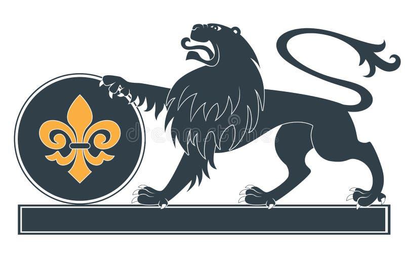 heraldisk lionsilhouette royaltyfri illustrationer