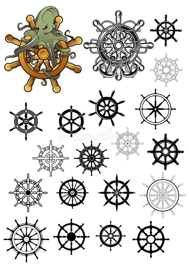 Heraldisk nautisk isolerad roderuppsättning royaltyfri illustrationer