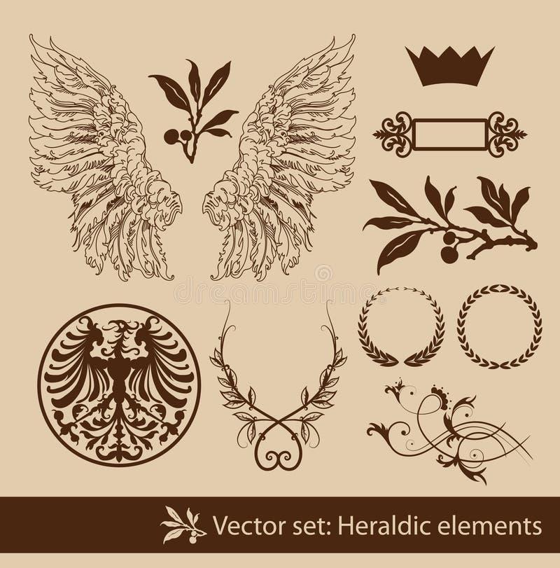 heraldisk set vektor illustrationer