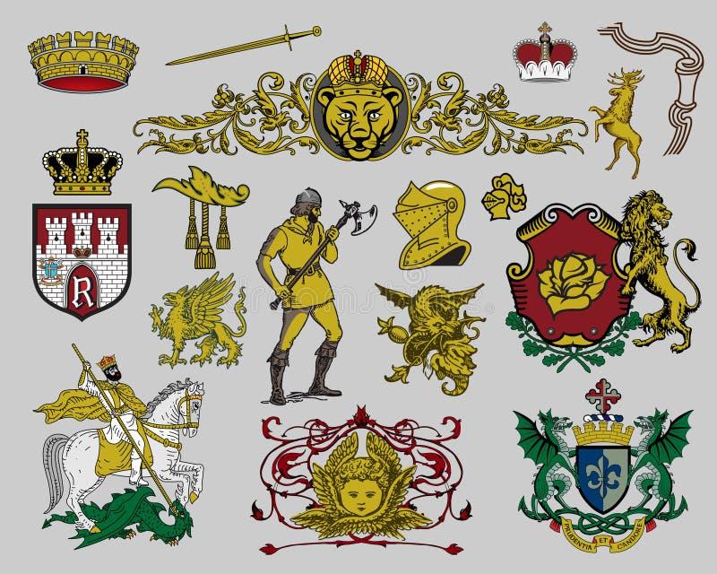 heraldisk set för 7 element stock illustrationer