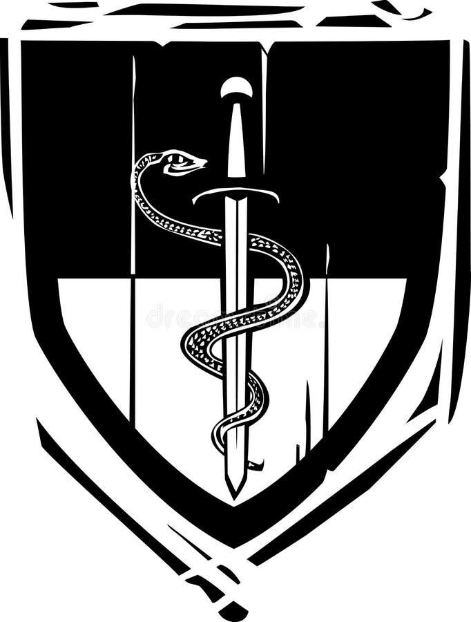 Heraldisk sköldorm och svärd stock illustrationer