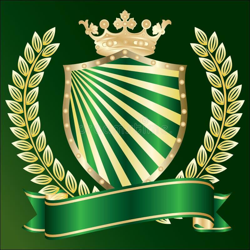 heraldisk symbolvektor för guld royaltyfri illustrationer