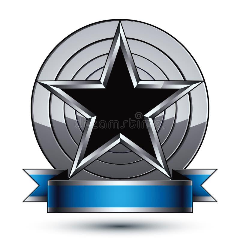 Heraldisk vektorcirkel, lyxig rundad beståndsdel med den svarta stjärnan vektor illustrationer