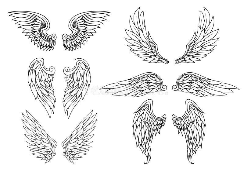 Heraldisk vinguppsättning stock illustrationer