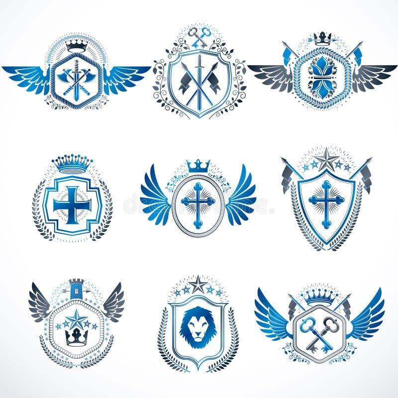 Heraldiska dekorativa emblem som göras med kungliga kronor, djur illus vektor illustrationer