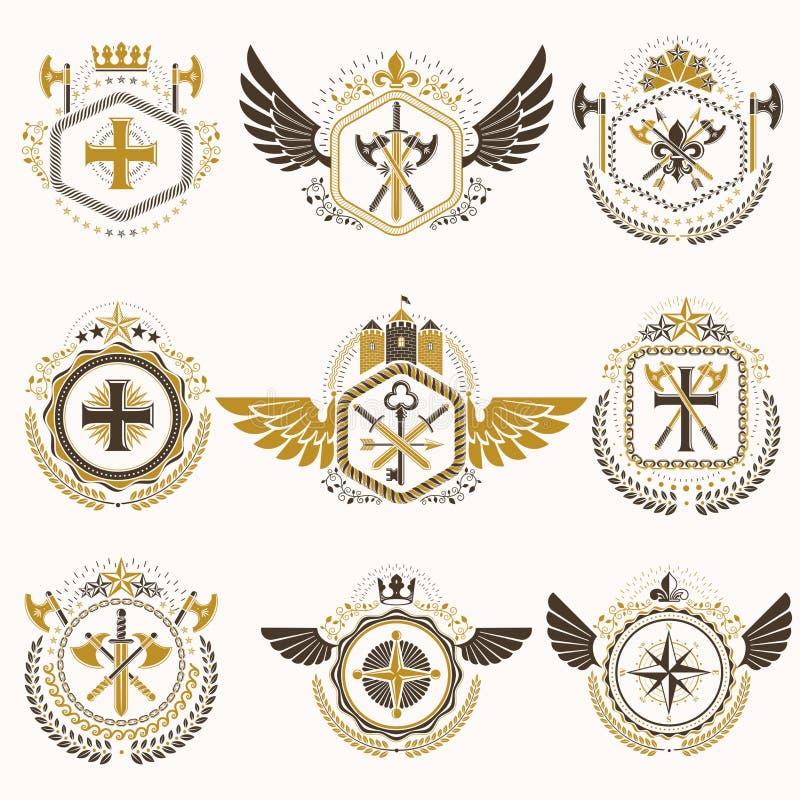 Heraldiska dekorativa emblem som göras med kungliga kronor, djura illustrationer, klosterbroderkors, arsenalen och medeltida slot vektor illustrationer