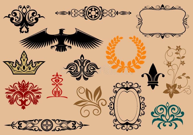 heraldiska element stock illustrationer